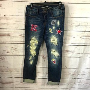 *3/$18*Machine Destroyed Ankle Cropped Jeans